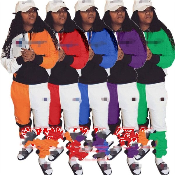 Şampiyonu Marka Kadın Kıyafetleri Kapüşonlu Kap Giyim Setleri Bağımsız Istasyonu Mektup Nakış Eğlence Spor Takım Elbise Ekleme Cep 47ld N1
