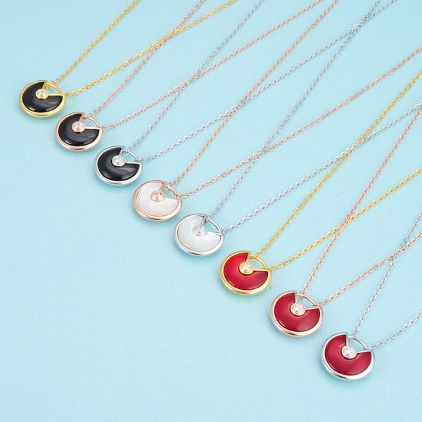 Charms Nizza smalto Amulette collane Bianco Nero Rosso Shell variopinto Pietra Disco Simbolo Segnale Amuleto del pendente 925