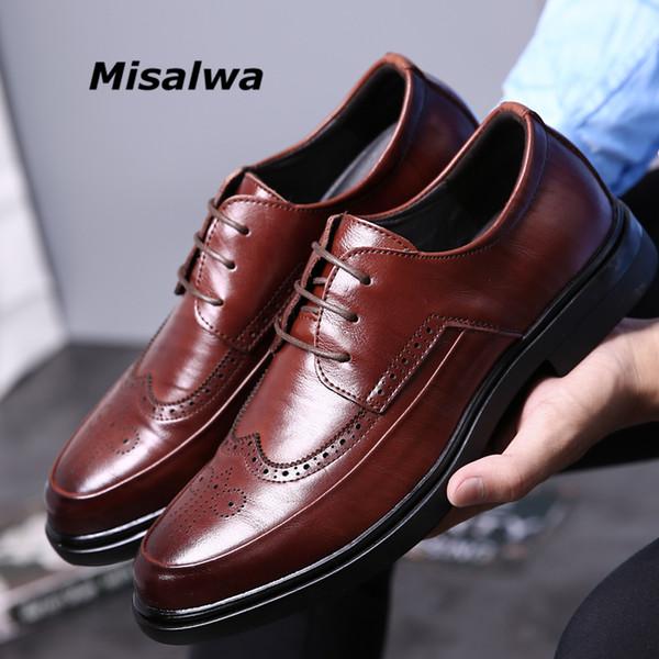 vente en gros hommes casual oxford chaussures de bureau hommes mariage partie en cuir brogue britannique 2018 chaussures pour hommes casual luxe automne chaussures