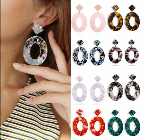 Fashion Women Acetate Oval Large Drop Earrings Exaggerated Vintage Ring Earrings for Women Big Hoop Earrings Jewelry