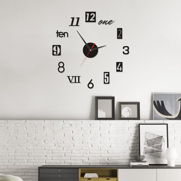 top popular 2019 large DIY Wall Clock Acrylicl Mirror digital clock 3D wall clock Personalized Digital Wall Clocks Free shipping 2020