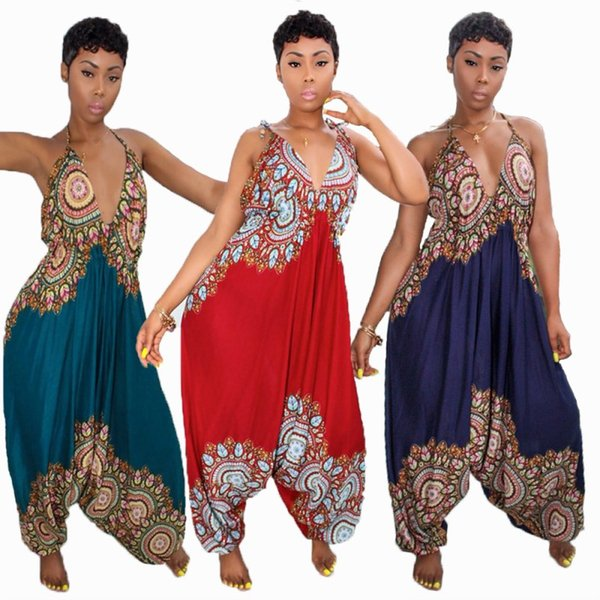 Womens sexy Jumpsuits Wide leg pants Backless bandage Deep V Sleeveless Bodysuit There are many kinds of bandages klw0785