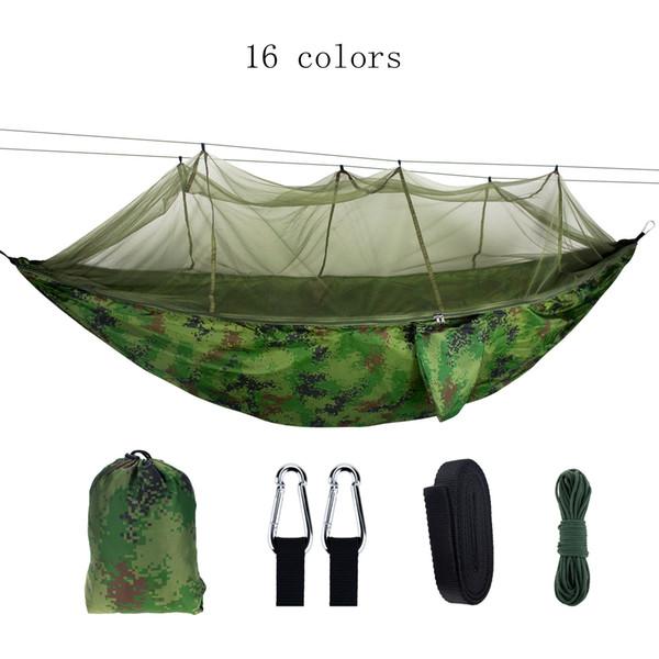 Ultraléger haute résistance parachute balançoire Chasse hamac avec moustiquaire Voyage Double personne Hamak Pour Camping Outdoor MMA1948-2