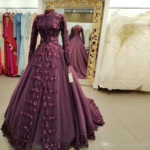 Medieval Princess Ball Gown Muslim Prom Dresses with Appliques Flowers Party Evening Wear High Neck Long Sleeves Dubai Evening Gowns