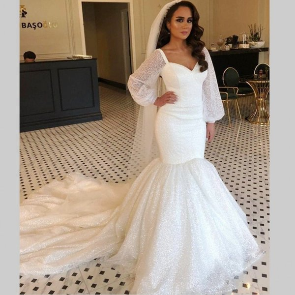 best selling Vintage Plus Size Wedding Dresses Arabic Gowns Aso Ebi Sparkly Mermaid Wedding Dress Long Sleeves Bridal Dress Cheap vestido de noiva