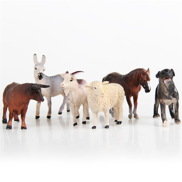 6pcs Simulated Farm Animal Sheep Dog Horse Donkey Ox Cow Set Animals Child Static Plastic Model Set Toys