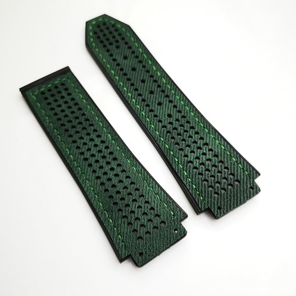 25mm/22mm Good quality fashion Green Canvas Silicone/Rubber Strap for Classic Fusion 44-45MM HB Big Bang