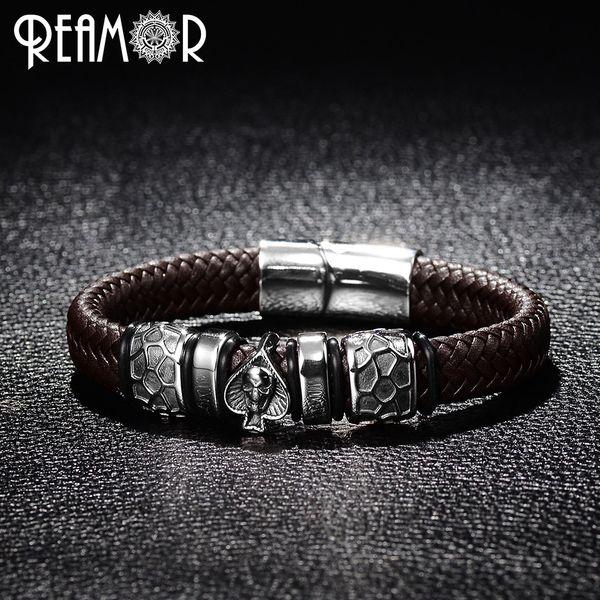 REAMOR Style Punk Bracelet En Acier Inoxydable 316L Pique Tête De Crâne Charmes À La Mode Bracelet Homme Noir Large Bracelets En Cuir Tressé