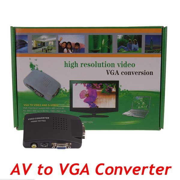 TV BNC AV S S-video to VGA Converter TV Signal Adapter Converter S Video to VGA Switch Conversion Digital Box Support 1080P