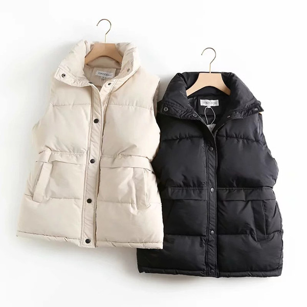 Sólidos a granel da Mulher Outono-Inverno Vest cordão Levante Colete quente Windproof Collar Longo Vest revestimento das mulheres acolchoados de algodão