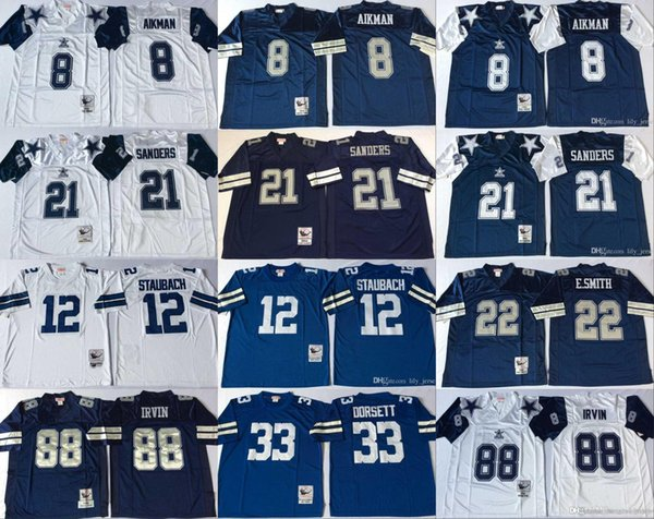 low priced 4b803 facdf 2019 Dallas Cowboys Jersey Vintage 8 Troy Aikman 21 Deion Sanders 12 Roger  Staubach 22 Emmitt Smith 33 Tony Dorsett 88 Michael Irvin Jerseys From ...
