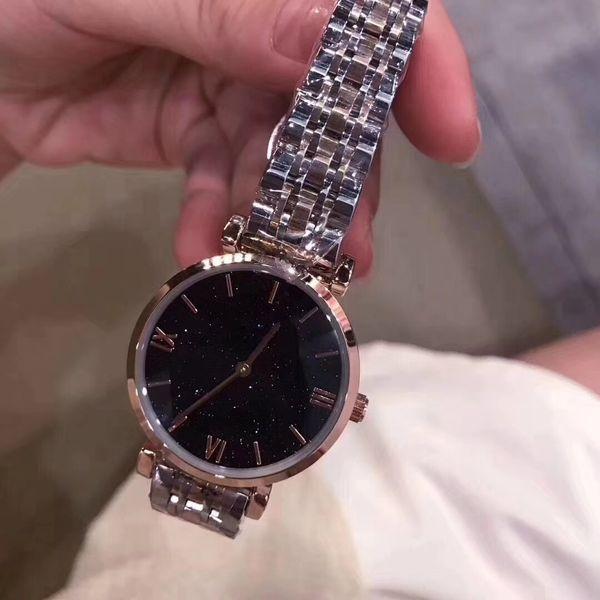 Top Venda de Moda de Nova Estilo Mulheres Watch starry Dial Lady stainlessSteel de Luxo relógio de Pulso de Quartzo relógio de lazer de Alta Qualidade mesa de lazer