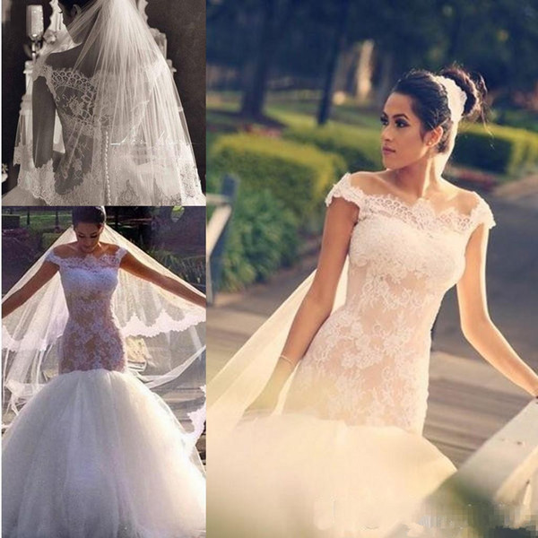 Sexy Off The Shoulder Wedding Dresses Cap Sleeves Tulle And Lace Mermaid Wedding Dress Sheer Back Covered Buttons Bridal Gowns Vestidos