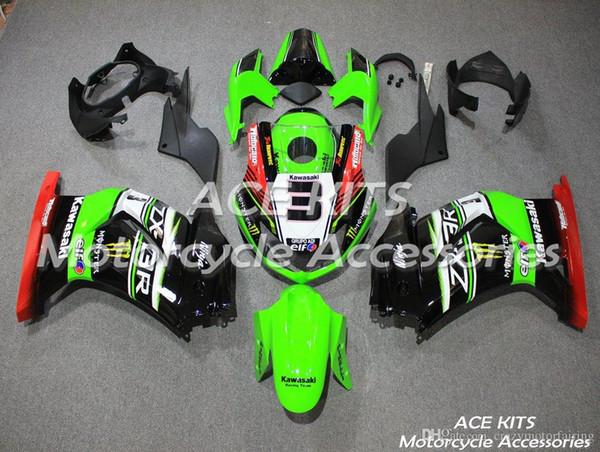 ACE KITS Motorcycle fairing For KAWASAKI Ninja250R 2008 2009 2011 2012 Injection or Compression Bodywork Green Black Red NO.V435