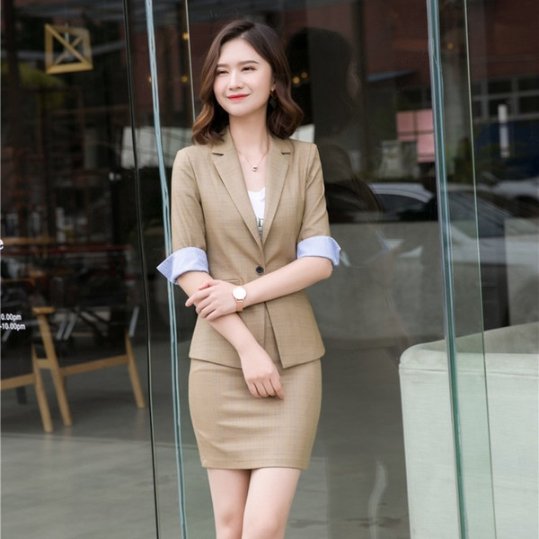 Formal Ladies Khaki Blazer Women Business Suits with Skirt and Jacket Sets Half Sleeve Office Work Wear Clothes