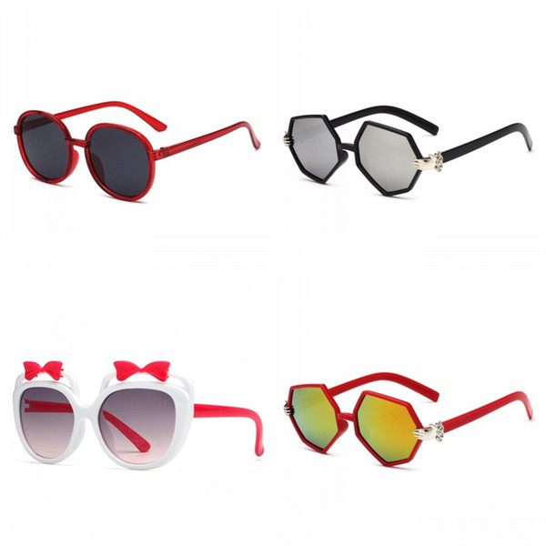 Bowknot Decorate Children Sun Glasses Round Small Hand Pattern Eyewear Hollowing Out Spectacles Boy Girl Red Black 3 3olg C1