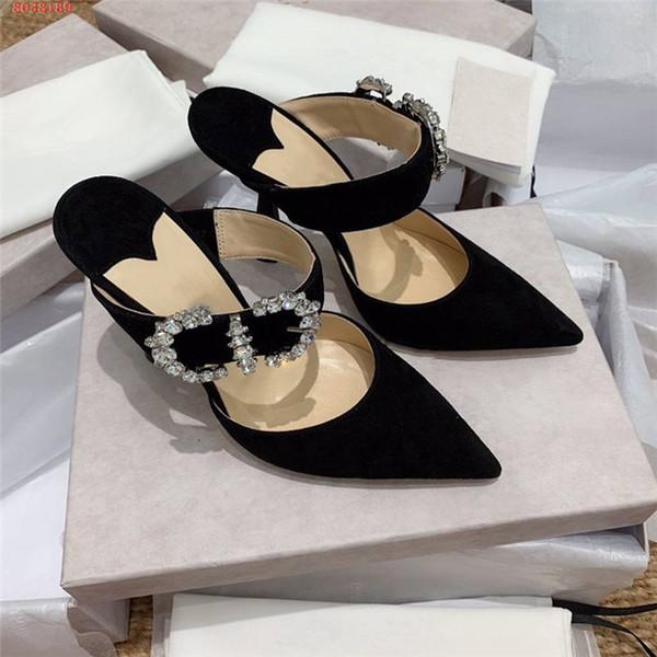 Klasik Yüksek Topuklu kadın terlik, Yüksek Topuk Katırlar Tokaları ile Rhinestone payetli sandalet, Moda deri terlik Boyutu 34-40