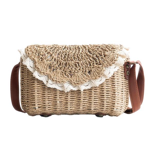 Women Lace Straw Bags Ins Popular Female Holiday Handbag Summer Hot Lady Weave Shoulder Bag Travel Beach Casual Bolsa Ss3150 Y19061204