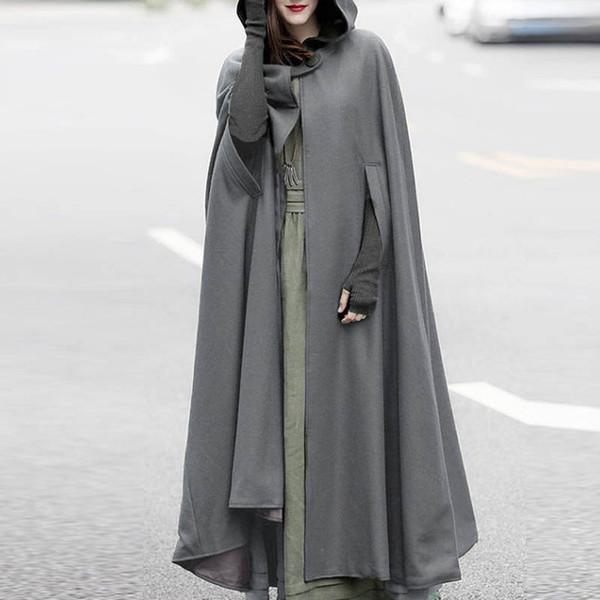 ZANZEA Women Winter Hooded Open Front Cloak Loose Solid Long Coat Hoodies Cosplay Outwear Christmas Casual Cape Poncho Plus Size