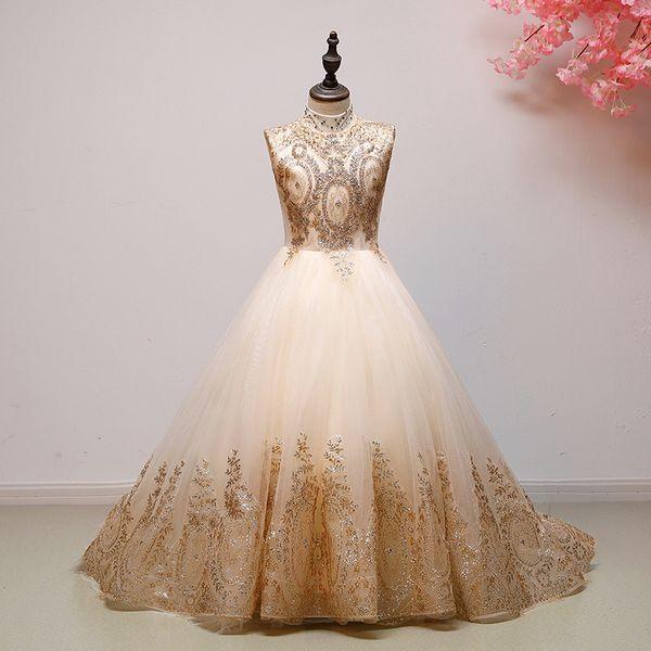 2019 blush fleurs filles robes robes d'or paillettes faites à la main fleur Pageant Tulle bijou une ligne enfants robe formelle Junior demoiselle d'honneur robe