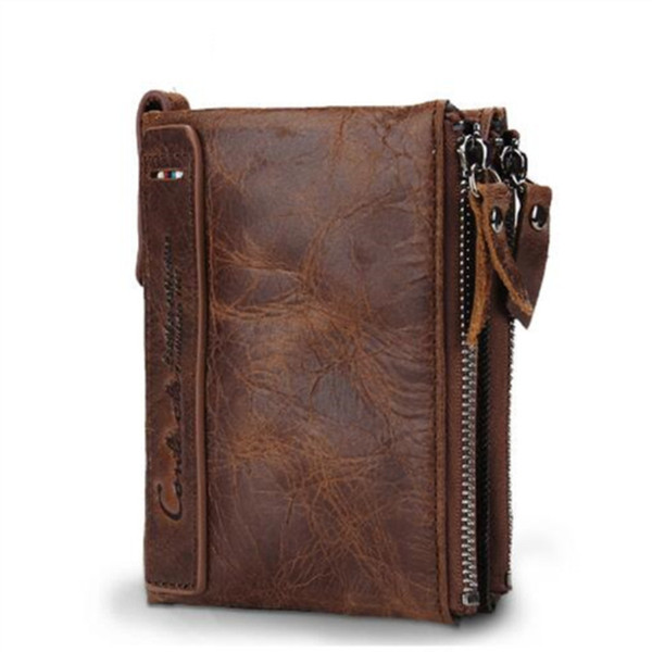Crazy Horse Cowhide Leather Men Wallet Short Coin Purse Small Vintage Wallets Brand High Quality Designer