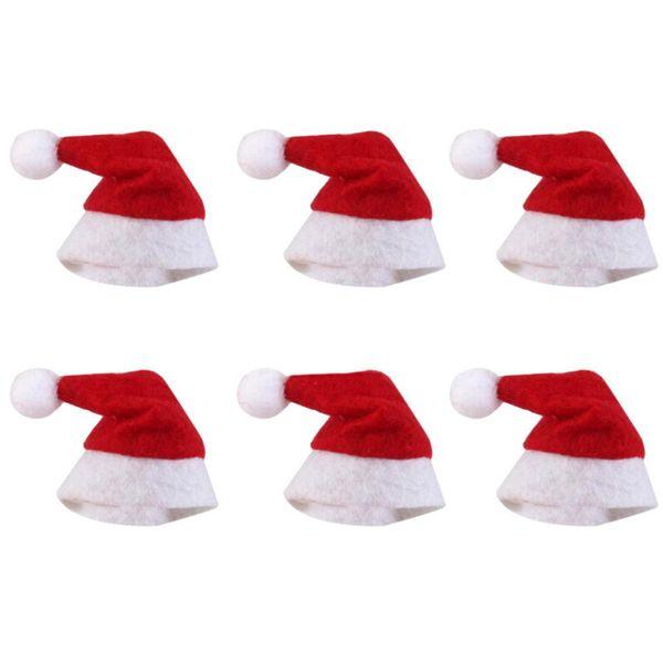 6pcs Mini Christmas Hat Santa Claus Hat Xmas Lollipop Mini Wedding Gift Creative Cap/Snowflake Christmas Tree Ornament Decor