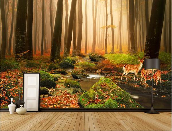 top popular WDBH 3d wallpaper custom photo mural Primitive forest elk landscape background living room home decor 3d wall muals wall paper for walls 3 d 2019