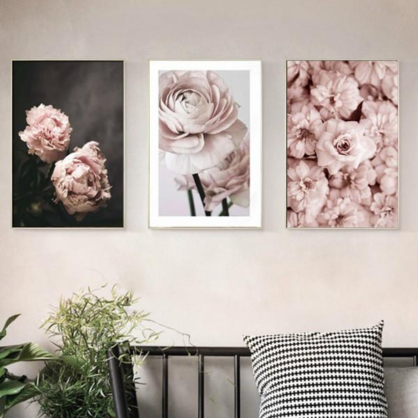 Romântico Moderno Rosa Rosa Flores Canvas Pinturas Cartazes Prints Presente Dos Namorados Wall Art Imagem Quarto Decoração de Casa