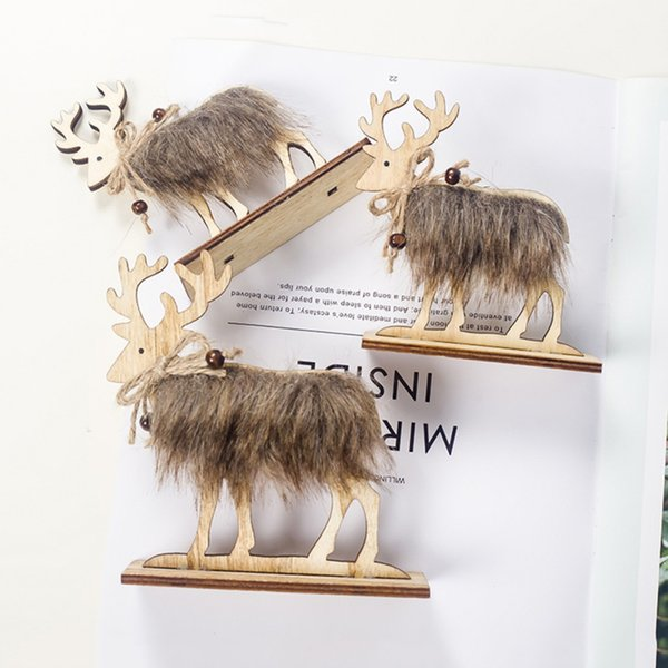 Christmas Wooden Felt Elk Shape Xmas Table Decoration Simulated Standing Kids Wedding Decor Toy