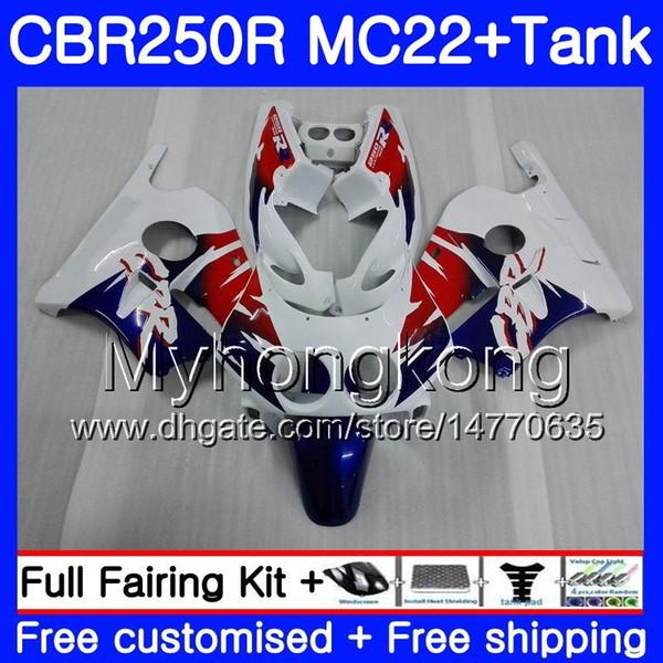 Injection +Tank For HONDA CBR 250RR white hot sale CBR250 RR 95 96 97 98 99 263HM.37 MC22 CBR 250 CBR250RR 1995 1996 1997 1998 1999 Fairing