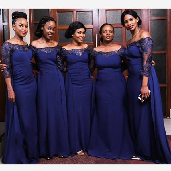 Dark Blue Off Shoulder Long Sleeves African Black Girls Wedding Guest Dresses 2020 Lace Floral Applique Satin Bridesmaid Dress Prom Evening
