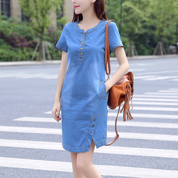 Dress Korean For Women New Summer Casual Jeans Dress With Button Pocket Sexy Denim Mini Dress Plus Size designer clothes