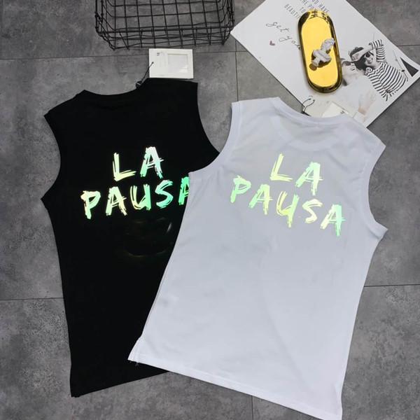 Nueva marca de llegada 2019 Mujeres Tank Top diseñador para el verano transpirable todos los días ropa sin mangas con letra impresa balck y blanco M-2XL