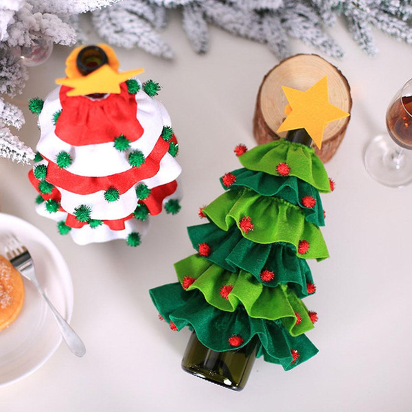 2019 Christmas Wine Bottle Cover Set Xmas Santa Claus Christmas Tree Elf Bottle Decor Clothes Kitchen Decor For New Year Dinner