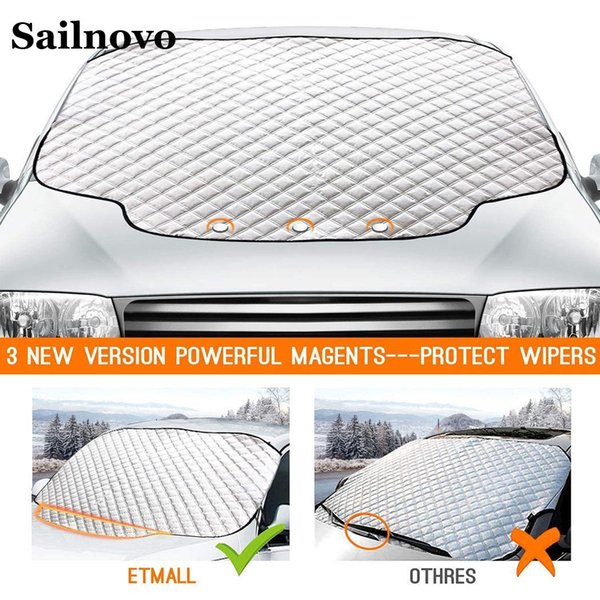 best selling wholesale 183*116cm General Solid Car Windshield Winter Cover Foldable Aluminized Film Removable Ice Protection Cover Car Covers