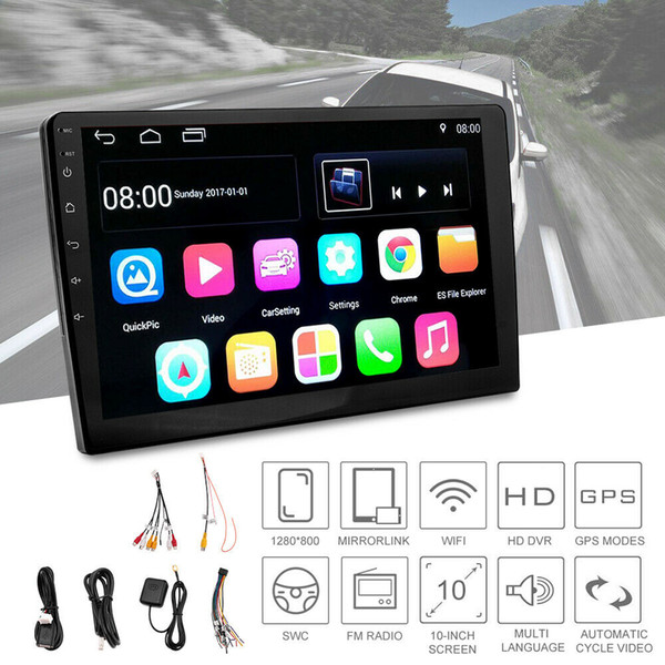 """10.1"""" HD Android 7.1 2 Din Car GPS Stereo Radio Player Navigation Touch FM/AM TV"""