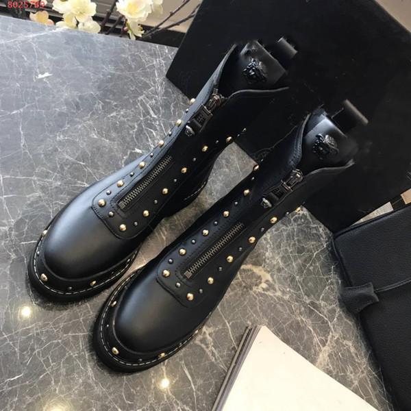 Schwarze Aufgeklebte Leder Großhandel Stiefel Einfache Frauen Mit Wasserdicht Niedrigem Perlen Stilvolle Hochwertige l3cTK1FJ