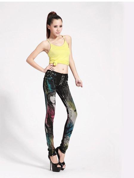 Sexy Club Wear Fashion Pattern Print Women Clothing Bottoms Nice Summer Slim Pencil Jeans Soft & Comfortable Lady Denim Jean