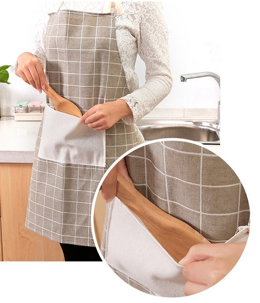 Adjustable Plaids Striped Cotton Linen Apron Woman Adult Bibs Home Cooking Baking Coffee Shop Cleaning Aprons Kitchen Accessory
