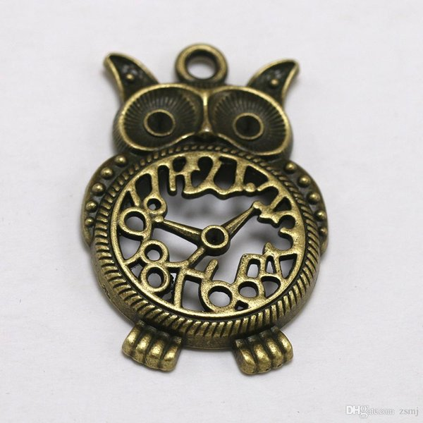 Retro Bronze Owl Clock Metal Antiqued Charms DIY Jewelry for Necklace Bracelet Keyrings Loose Bead Xmas Gifts