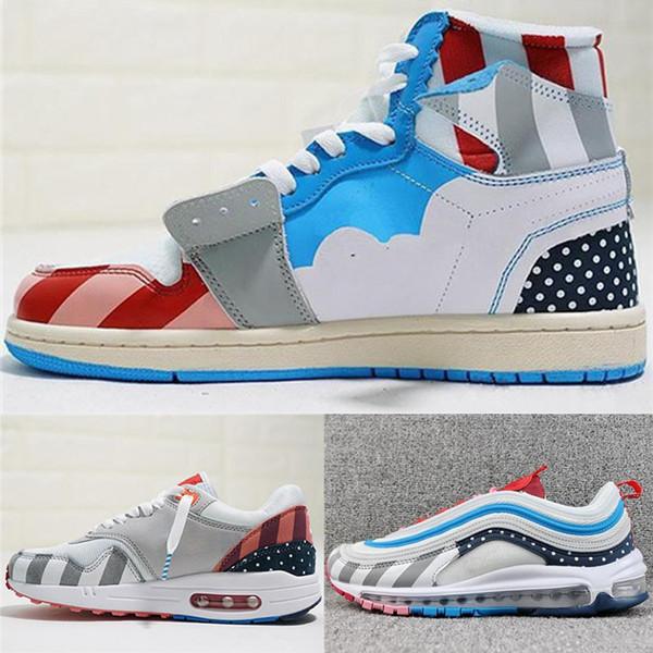 chaussures de créateurs Parra x 1 Chaussures de course en daim roses Chaussures de basketball pour hommes Baskets à lanières multi pour femmes 36-45