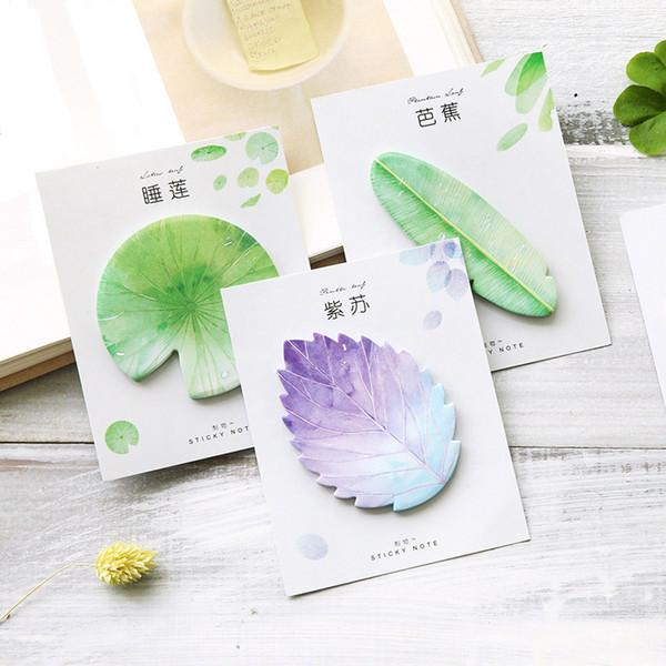 1 UNID Lindo Kawaii Planta Natural Hoja Nota Adhesiva Bloc de notas Nota Planificador Etiqueta Papel Coreano Oficina Papelería Útiles Escolares