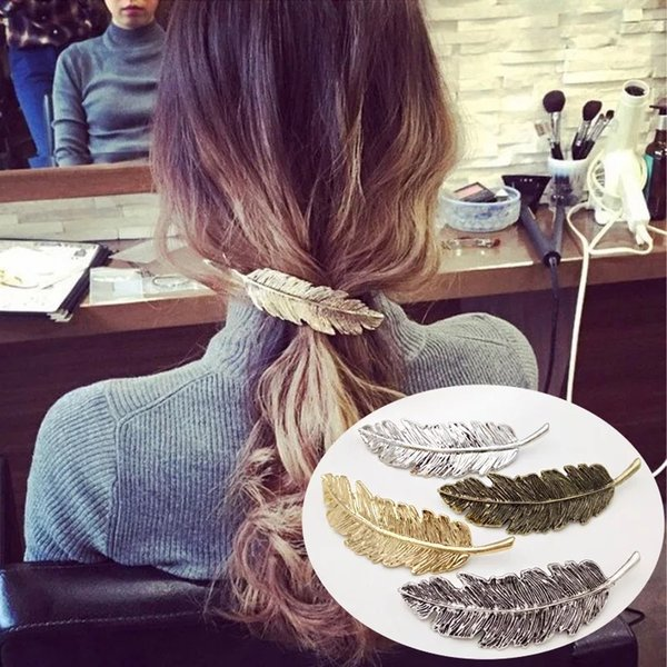 Fashion Metal Leaf Hair Clips Vintage Hairpin Hair Accessories for Women Girl Feather Lady Wedding Barrette Jewelry 1PC