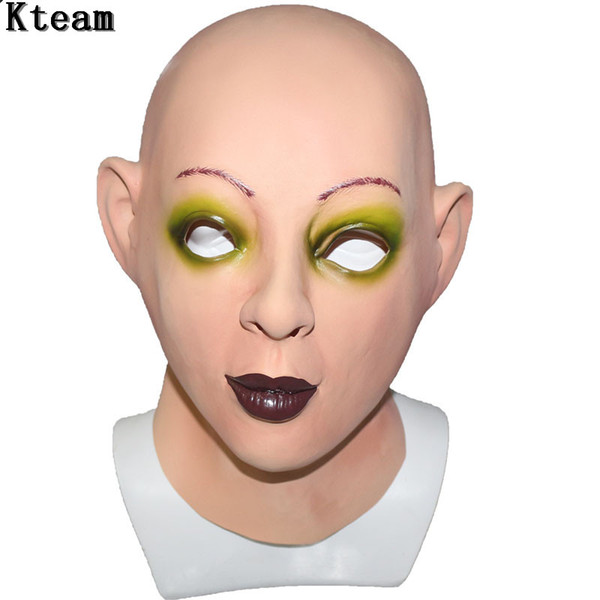 Hot !!!Realistic Female Mask For Halloween Human Female Masquerade Latex Party Mask Sexy Girl Crossdress Costume Cosplay Mask