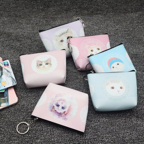 Women's mini bag cute leather cat zipper coin purse hand carry mobile phone key storage bag small girl wallet monederos