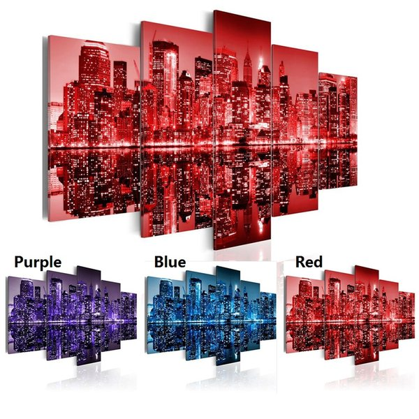 5pcs/set Modern City New York Night View Oil Painting ( No Frame ) Canvas Art Print Giclee Wall Painting Home Decoration Gift (Color:Purple,