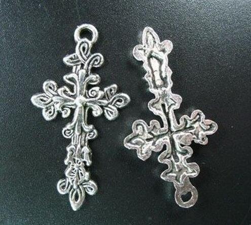 50 Pcs Tibetan Silver Large Cross Charm Pendants For European Fashion Men Women Jewelry Necklace Bracelet Earrings Accessories