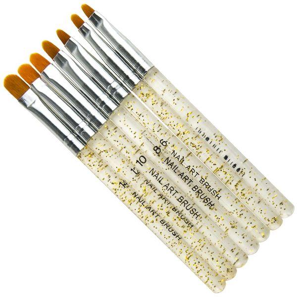 7 Stücke Gold Silber Glitters Griff Maniküre UV Gel Pinsel Stift Acryl Nail art Gelpoliermittel Malerei Zeichnung Pinsel Werkzeuge Neue Design