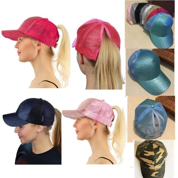 13 Colors Glitter Ponytail Ball Cap Messy Buns Trucker Ponycaps Plain Baseball Visor Cap Glitter Ponytail Hats Snapbacks