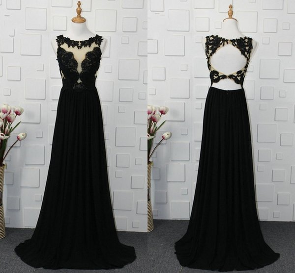 Cap Sleeve Sheer Neckline Black Evening Gowns 2019 Lace Applique Keyhole Backless Dresses Evening Wear Formal Prom Sexy Dress For Women